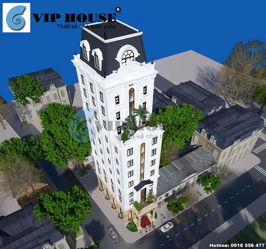 Phối cảnh tổng thể khách sạn cổ điển 11 tầng nhìn từ trên cao