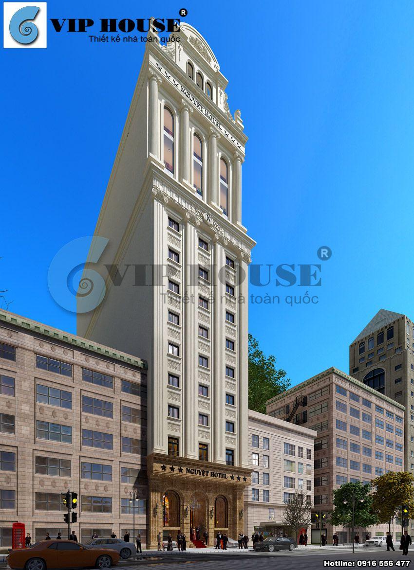 Thiết kế khách sạn cổ điển 3 sao 17 tầng có hình dáng đất không vuông vắn
