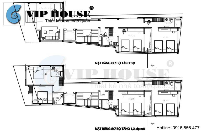Mặt bằng sơ bộ tầng trệt, tầng 1,2 và áp mái