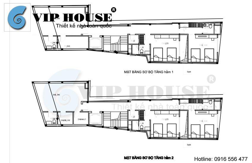 Hình ảnh mặt bằng sơ bộ 2 tầng hầm của khách sạn