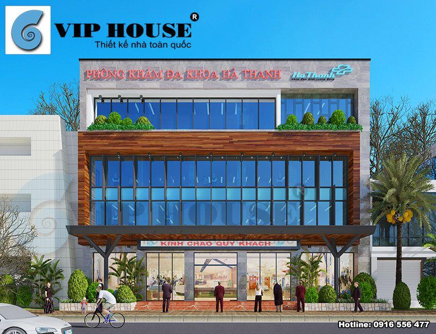 Thiết kế phòng khám đa khoa Hà Thanh tại Vĩnh Phúc - mặt đứng công trình