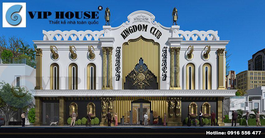 Thiết kế quán karaoke cổ điển hoàng gia tại Hải Dương - mặt đứng công trình