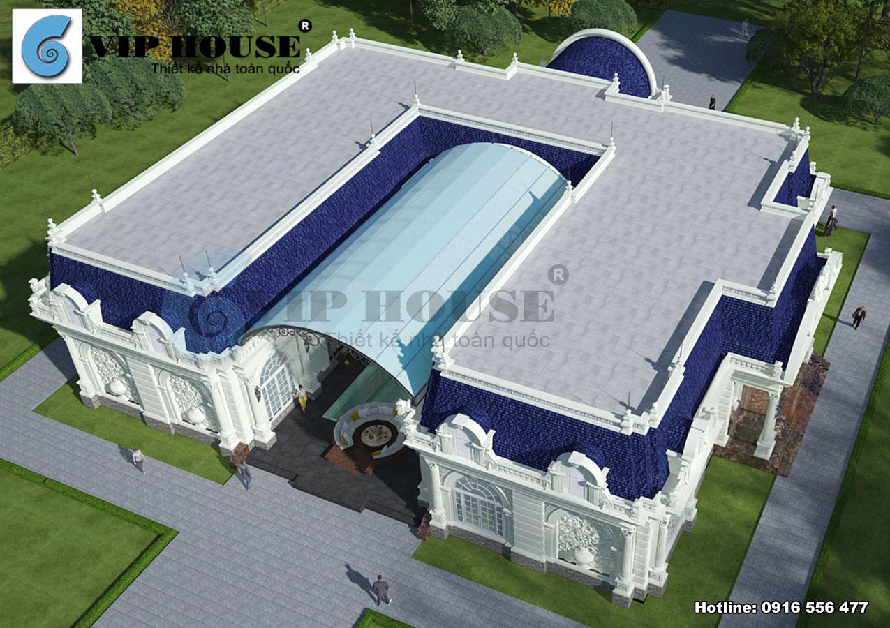 Hai khối của căn biệt thự được đặt cân bằng đối xứng với nhau qua bể bơi ở giữa không gian.