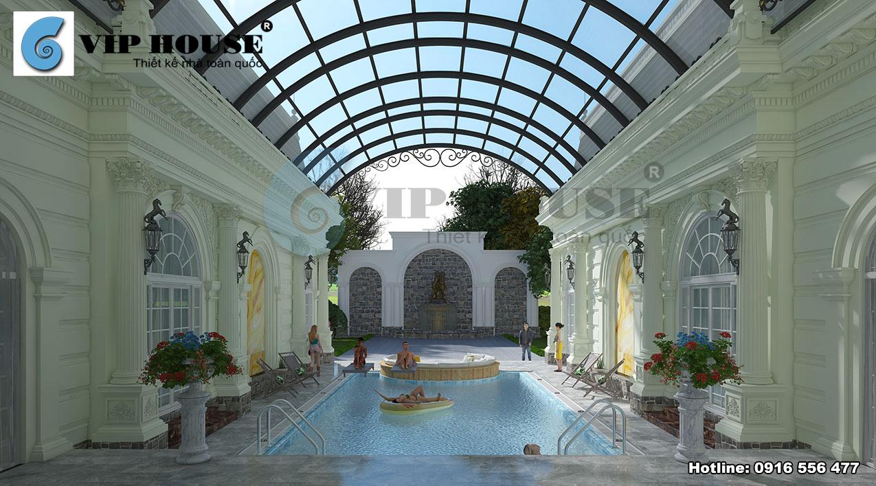 Một bể bơi hiện đại được thiết kế với kiến trúc đẹp mắt