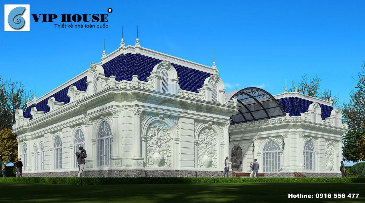 Biệt thự 1 tầng này gây ấn tượng bởi vẻ đẹp cổ điển và sang trọng