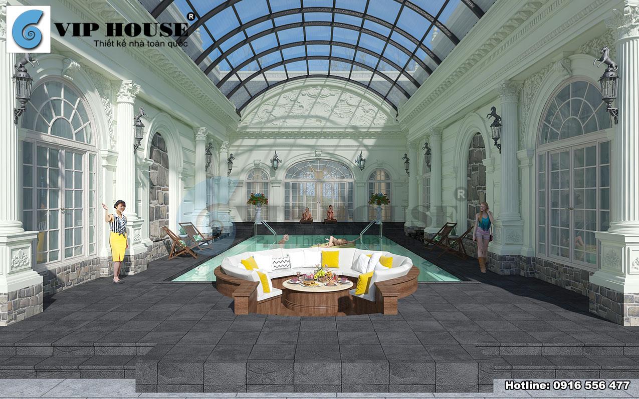 Thiết kế biệt thự kiểu Pháp 1 tầng có bể bơi tại Bình Thuận