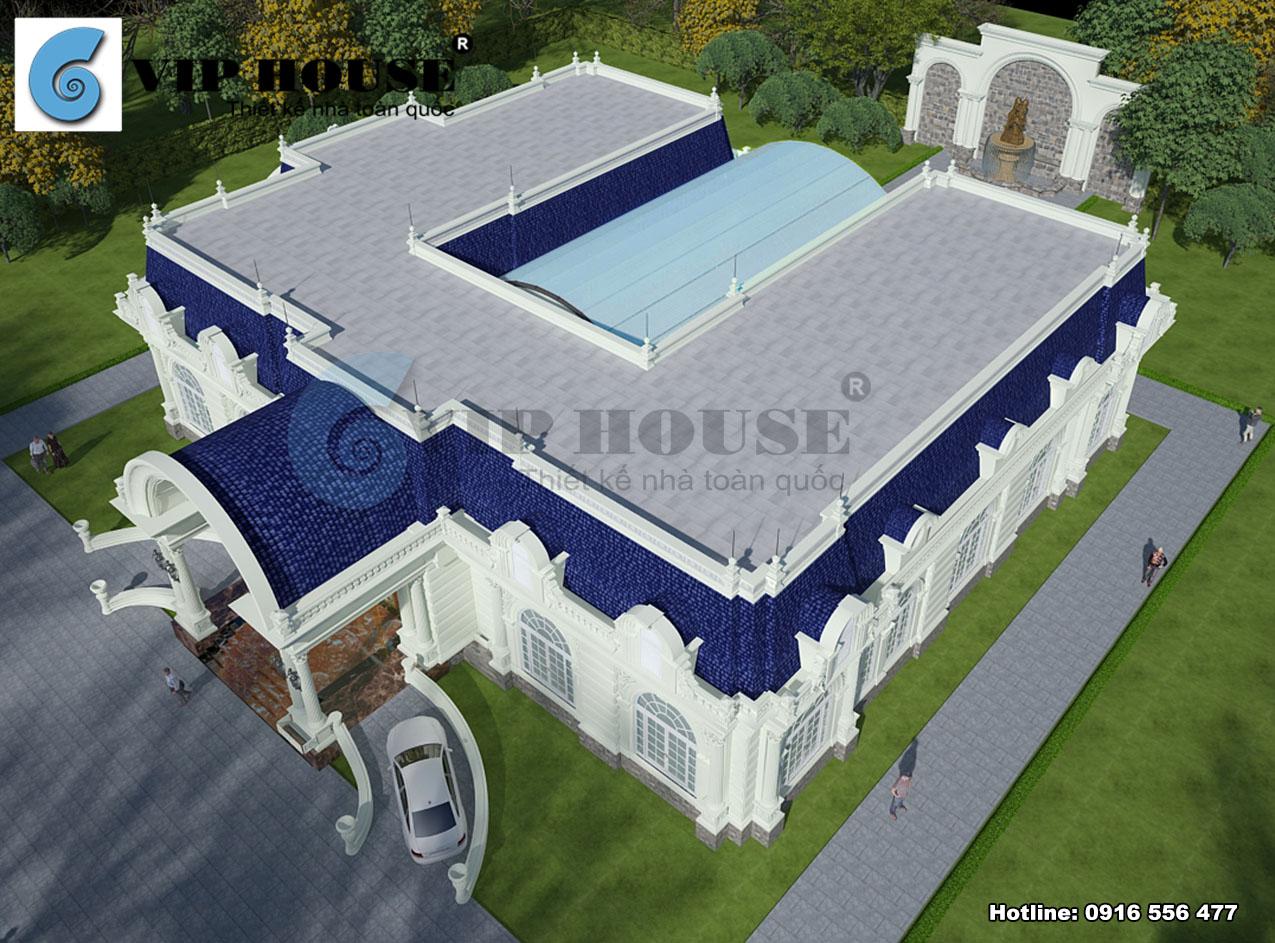 Phần mặt sau của biệt thự được nhấn mạnh bằng khối vòm mái bể bơi tạo nên một hiên sảnh đẹp mắt uốn lượn