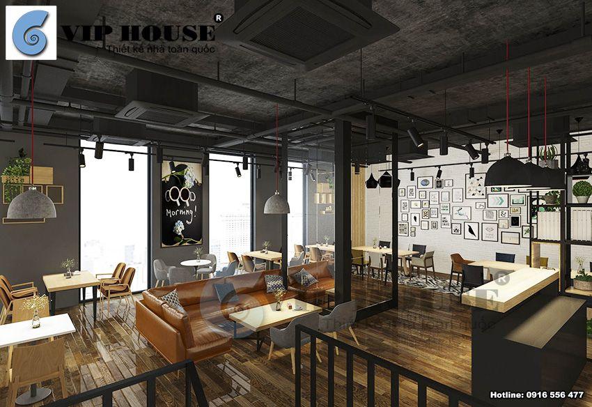 Thiết kế nội thất tầng 2 quán cafe 2 tầng tại Hà Nội