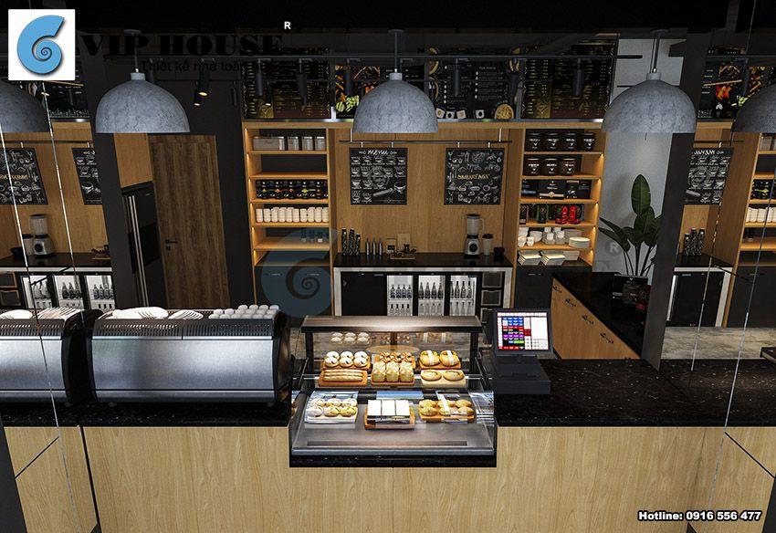 Thiết kế nội thất tầng 1 quán cafe 2 tầng tại Hà Nội