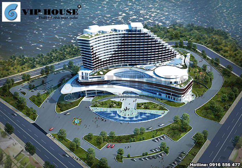 Thiết kế khách sạn 3 sao hiện đại tại Tây Nguyên - Phối cảnh tổng thể kiến trúc khách sạn