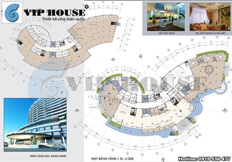 Mặt bằng tầng 1 khách sạn 4 sao được quy hoạch khoa học