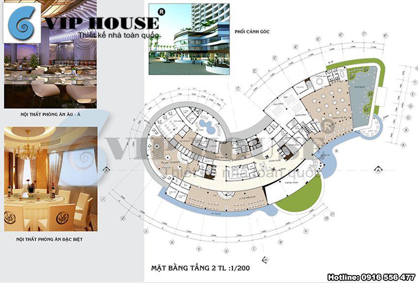 Mặt bằng tầng 2 của khách sạn 4 sao ven biển Đà Nẵng