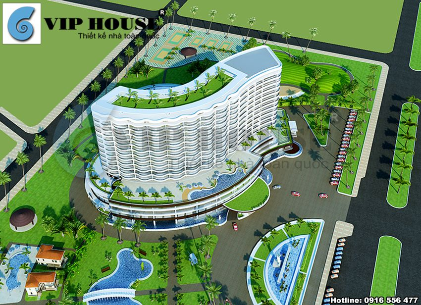 View nhìn tổng thể quy hoạch khách sạn 4 sao ven biển Đà Nẵng