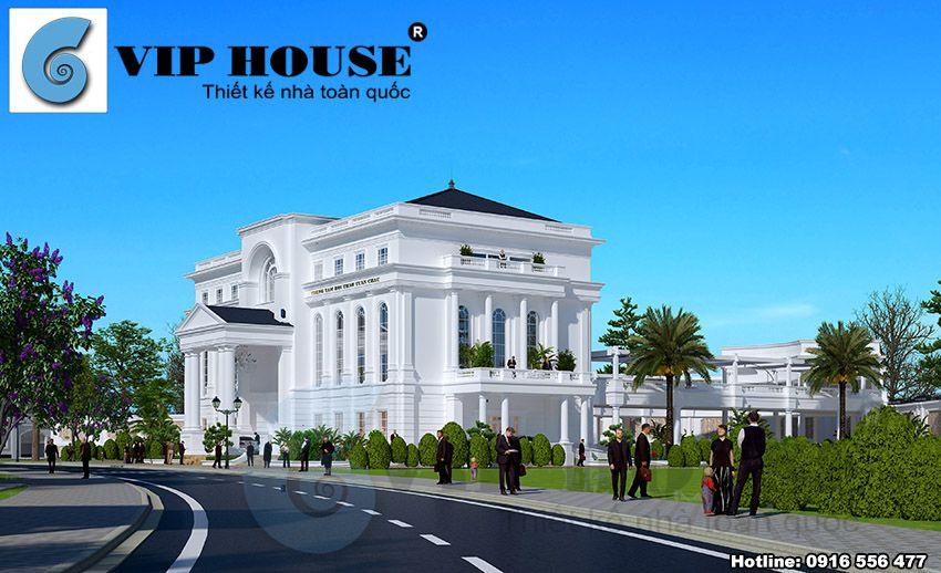 Tòa nhà thiết kế với nhiều trụ cột phía trước sảnh và 2 bên hông tòa nhà