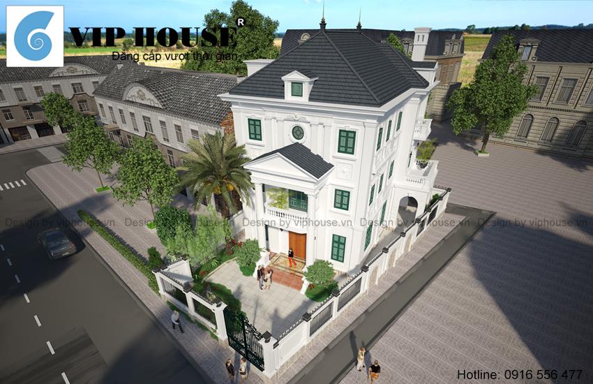 Thiết kế biệt thự 3 tầng kiểu Pháp sang trọng, hiện đại sử dụng hệ thống cửa gỗ trong kính ngoài chớp.