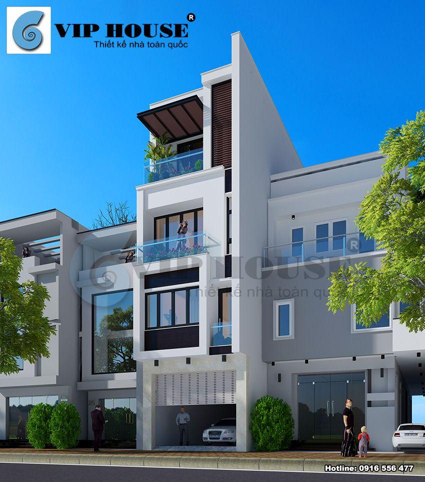 Thiết kế nhà phố 4 tầng mặt tiền 4,5m tại Bắc Ninh