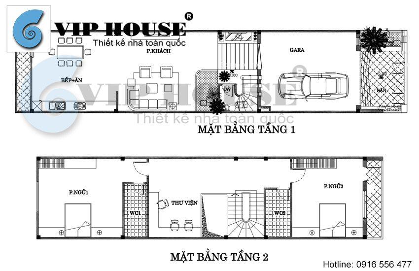 Mặt bằng tầng 1 + tầng 2 nhà phố 4 tầng tại Quảng Ninh
