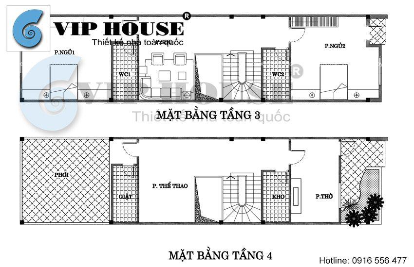 Mặt bằng tầng 3 + tầng 4 nhà phố 4 tầng tại Quảng Ninh
