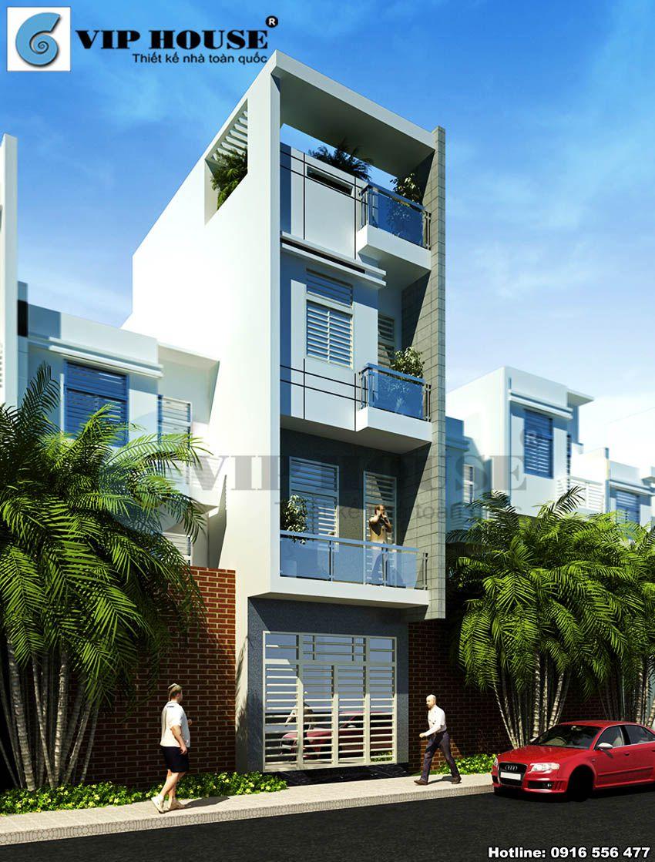 Thiết kế nhà phố 5x20m 4 tầng phong cách hiện đại - phối cảnh kiến trúc