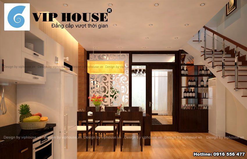 Nội thất phòng bếp ăn liền kề không gian phòng khách