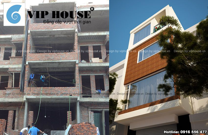 Hình ảnh mặt đứng công trình trước và sau khi cải tạo