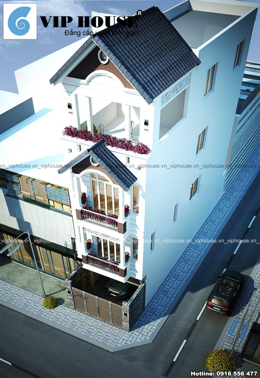 Tổng quan ngôi nhà phố ống 4 tầng mái ngói với view nhìn trên cao