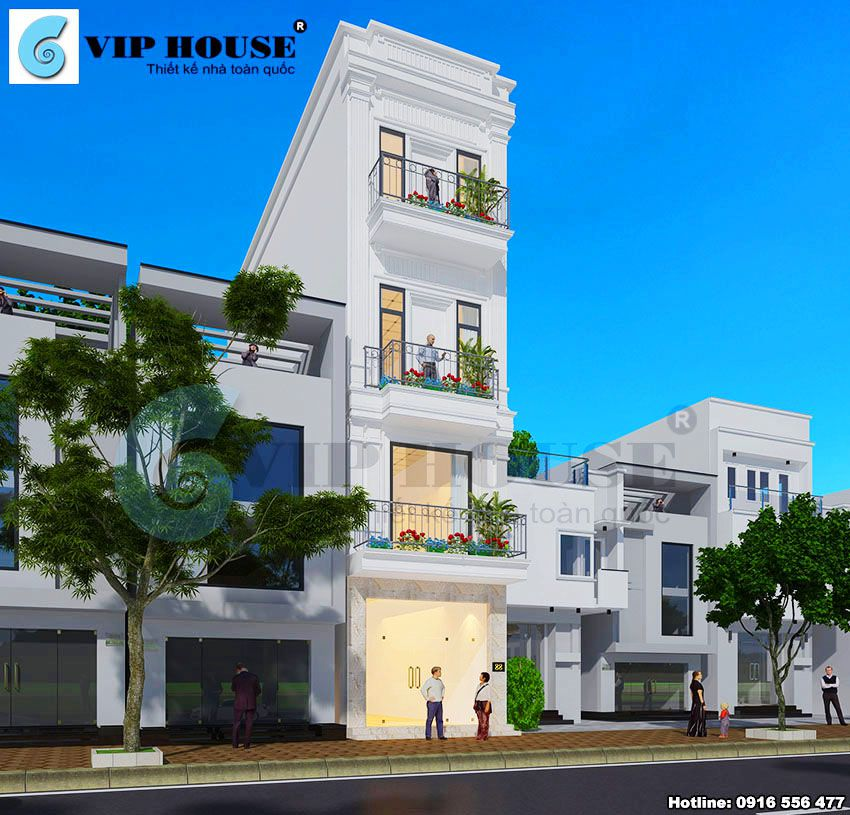 Phân chia khoảng cách các tầng hợp lý tạo nét cân đối cho mặt tiền nhà phố