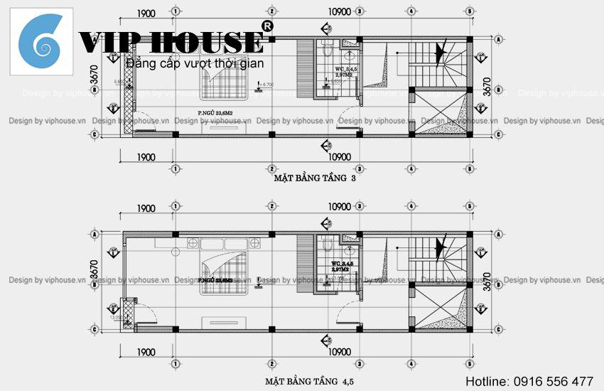 Mặt bằng tầng 3 + tầng 4,5 nhà phố hiện đại