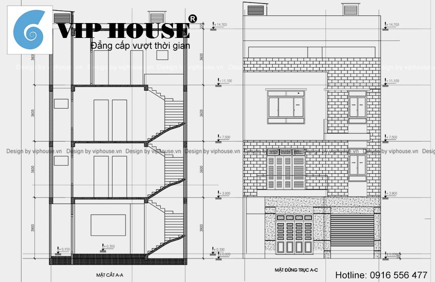 Mặt cắt, mặt đứng nhà phố 3 tầng tại Bắc Ninh