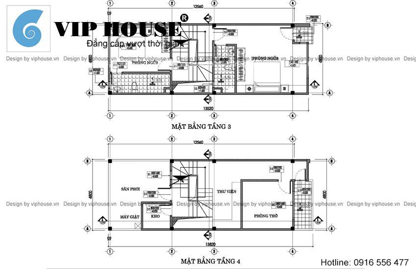 Thiết kế nhà lệch tầng 4,8x12,5m
