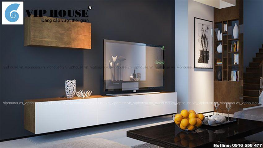 Thiết kế nội thất phòng khách bếp liên thông đơn giản, hiện đại