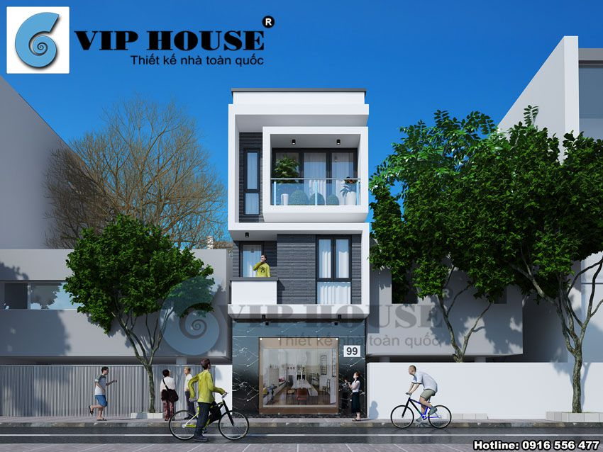 Thiết kế nhà phố 3 tầng hiện đại 4m x 20m - Hình ảnh tổng thể ngôi nhà phố