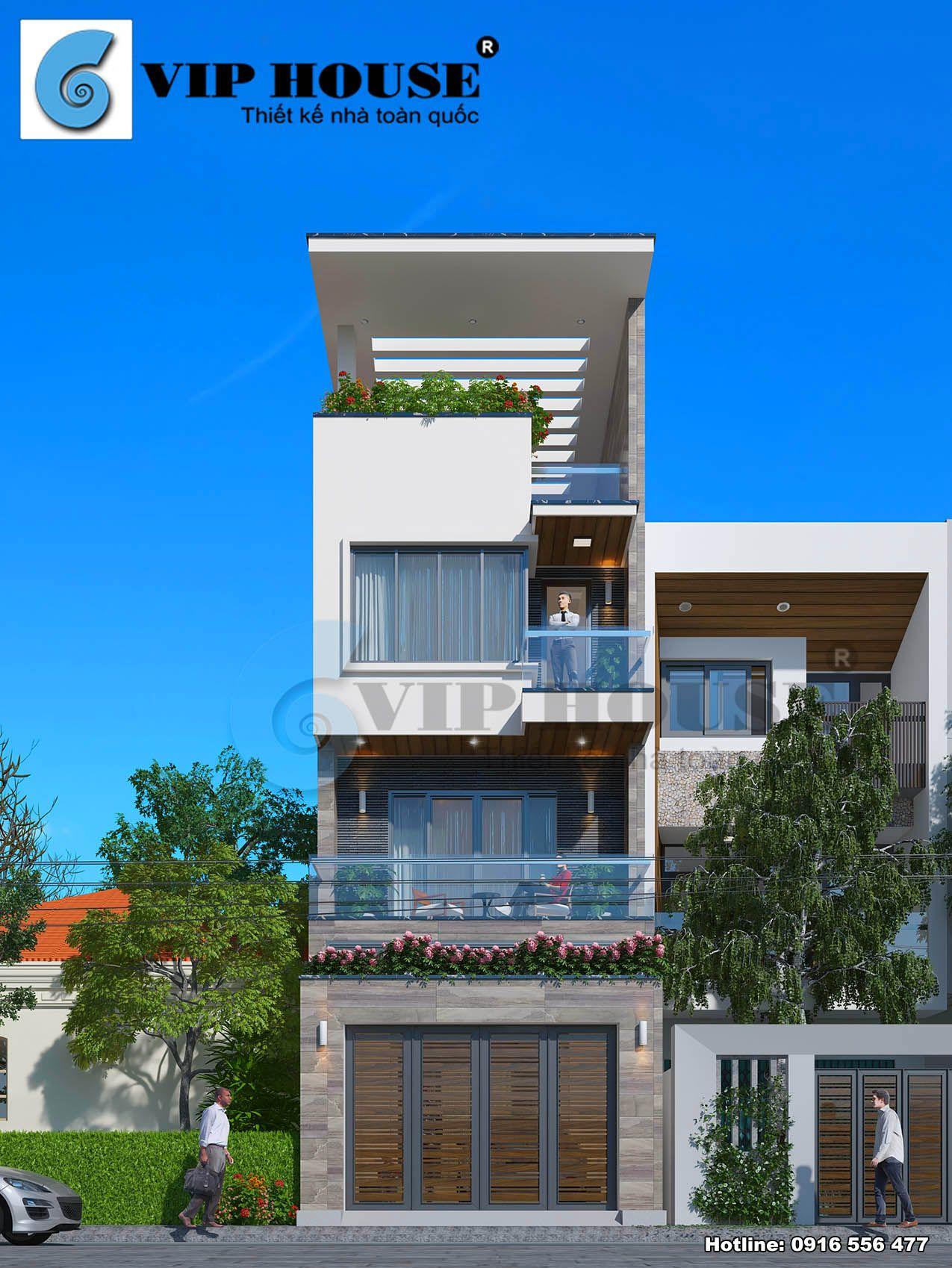 Thiết kế nhà phố 4 tầng hiện đại mặt tiền 5m tại Bắc Ninh - phối cảnh mặt tiền đẹp độc đáo
