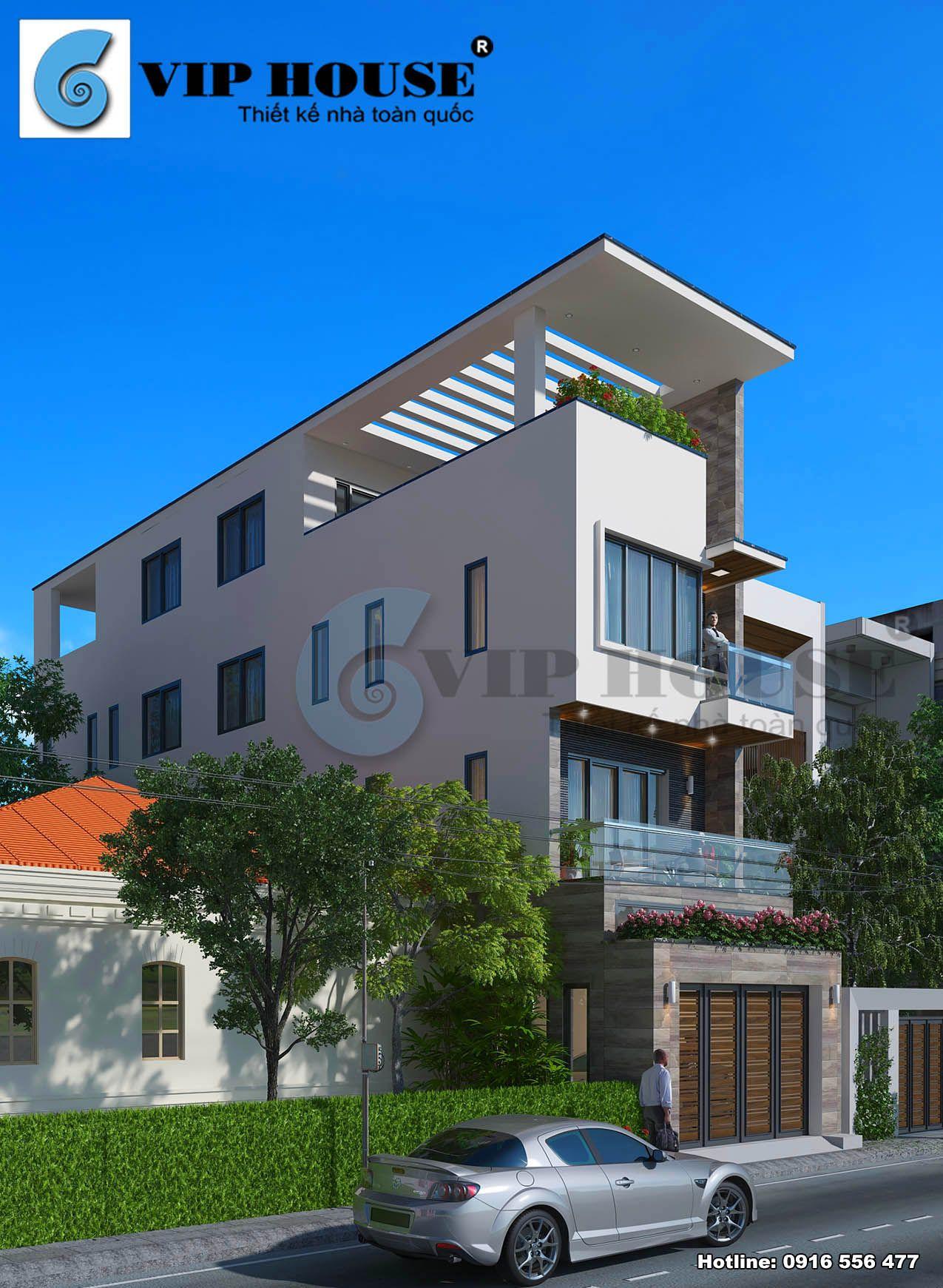 Kiến trúc nhà phố sở hữu hình khối hài hòa với tỷ lệ cân đối