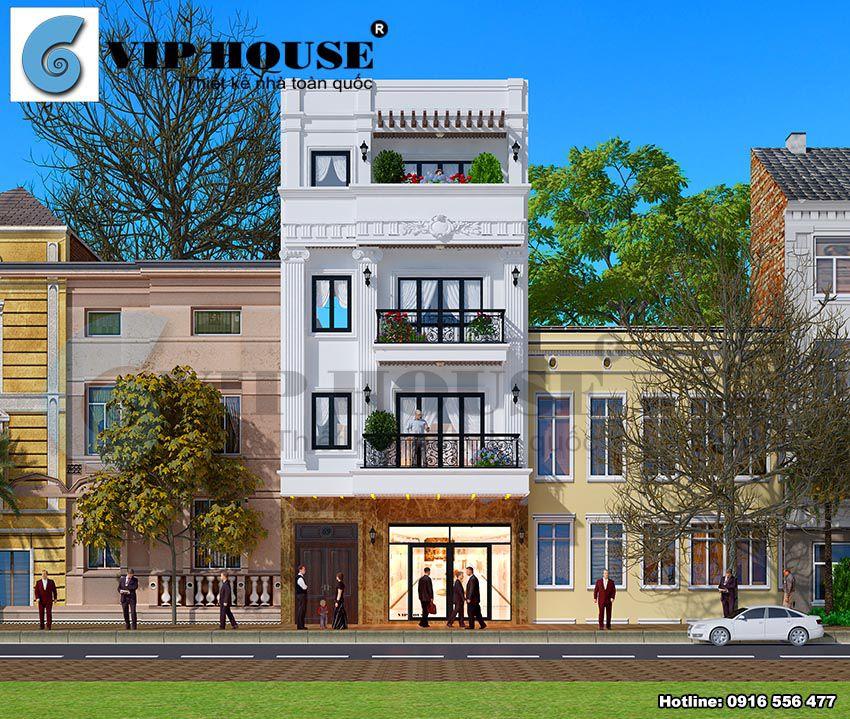 Thiết kế nhà lệch tầng tân cổ điển mặt tiền 7m tại Hà Nội
