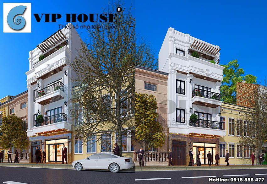 Các đường nét kiến trúc rõ ràng tạo nên một ngôi nhà 4 tầng khang trang