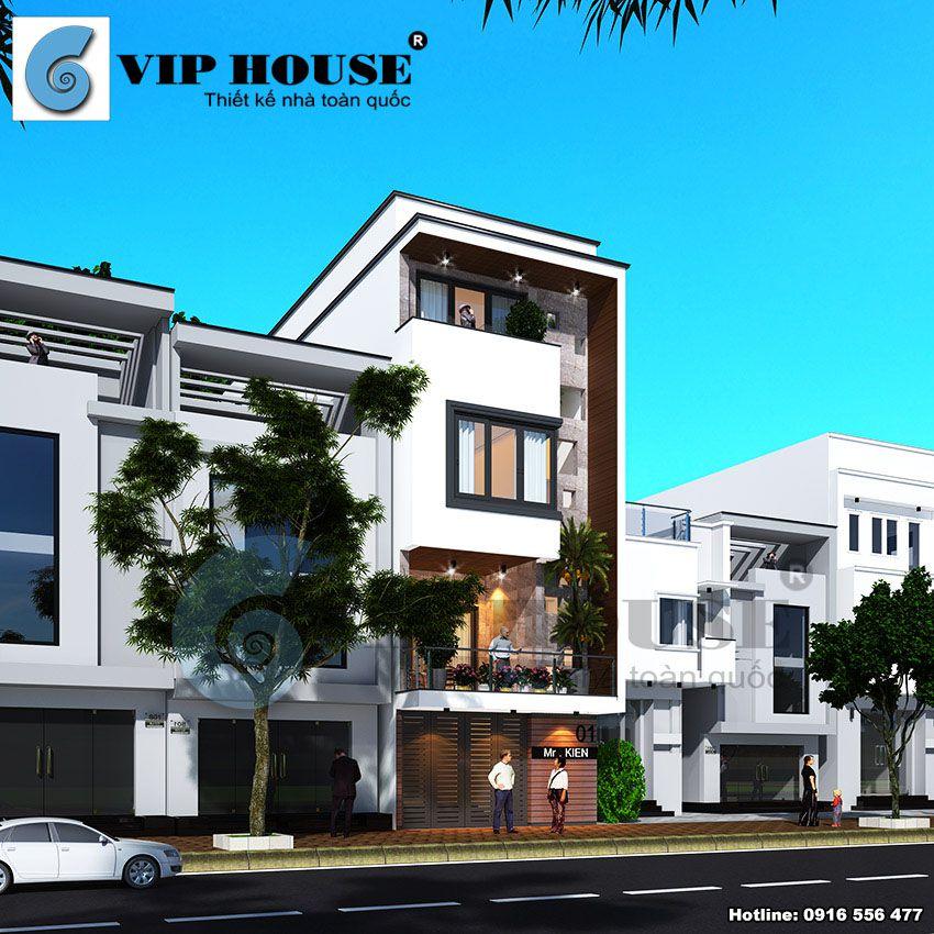 Góc nhìn 3/4 thể hiện kiến trúc tinh tế của ngôi nhà