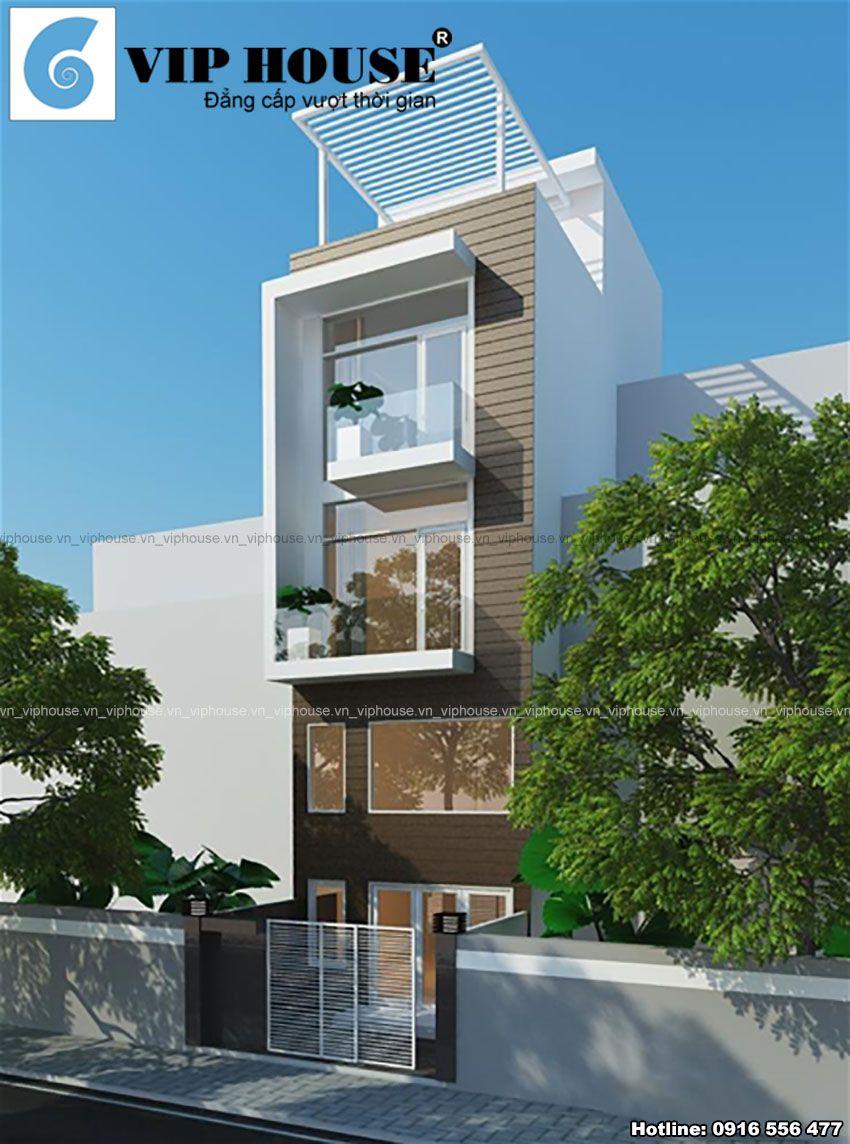 Thiết kế nhà phố 4,5 x 9m kiểu hiện đại - phối cảnh kiến trúc