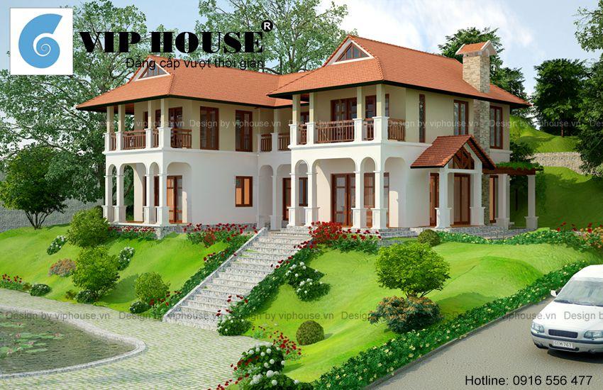 Thiết kế nhà vườn 2 tầng đẹp tại Hòa Bình phong cách hiện đại kết hợp truyền thống