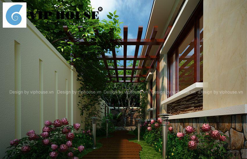 Tiểu cảnh sân vườn lối bên nhà