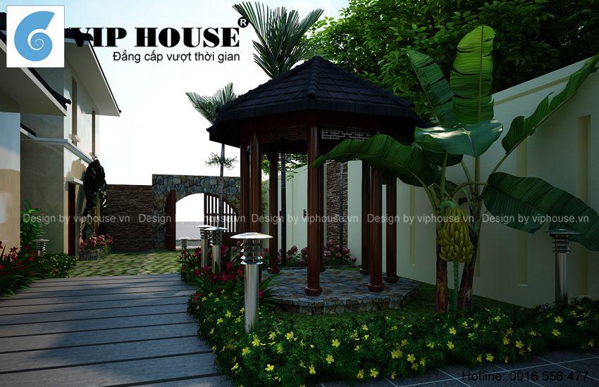 Nhà vườn 1 tầng phong cách hiện đại
