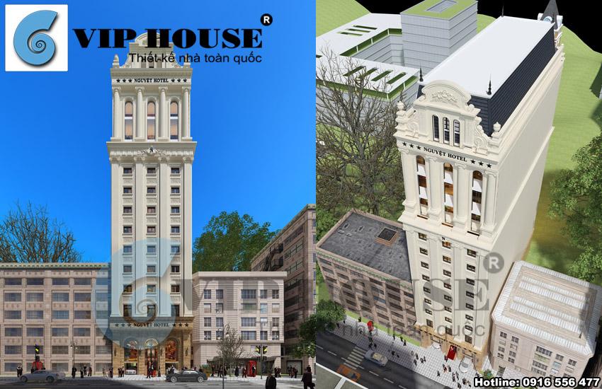 Thiết kế khách sạn 3 sao 13 tầng sang trọng tại Hà Tĩnh