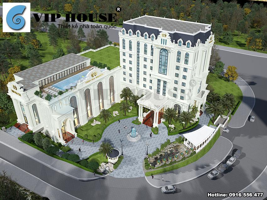 thiết kế khách sạn 4 sao kiến trúc Pháp tại Lào Cai