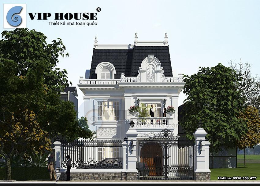 Kiến trúc mặt tiền mẫu thiết kế biệt thự kiểu Pháp 3 tầng