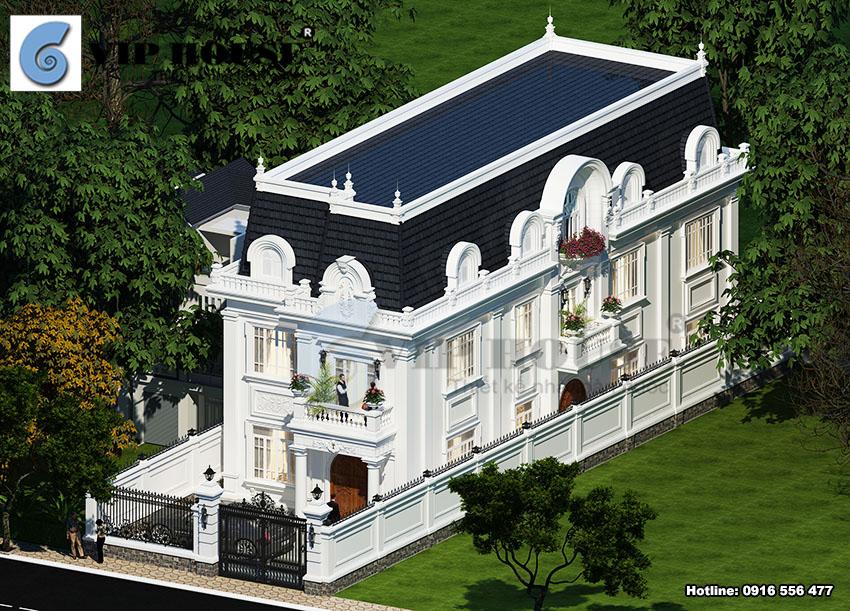 Phối cảnh tổng thể mẫu thiết kế biệt thự kiểu Pháp 3 tầng tại Hải Phòng