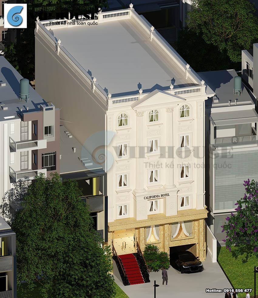 Phối cảnh trên cao của khách sạn tân cổ điển 6 tầng tại Hóc Môn với nét đẹp nổibật