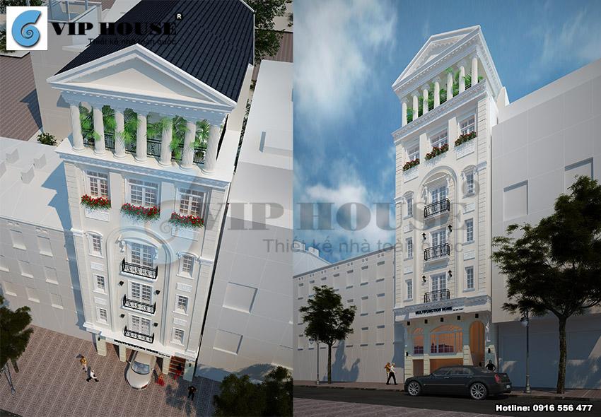 Mặt tiền mẫu khách sạn mini mặt tiền 10m đẹp tinh tế với gam màu ấn tượng