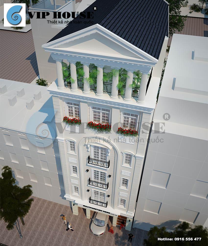 View nhìn từ trên cao thể hiện đường nét kiến trúc và bố cục mạch lạc của công trình khách sạn