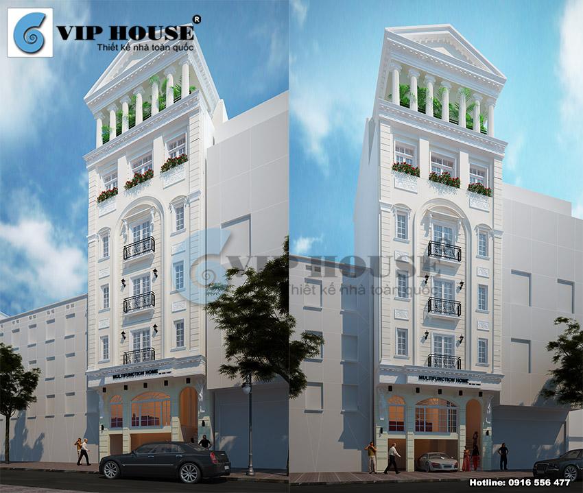 Phối cảnh tổng thể kiến trúc khách sạn mini mặt tiền 10m tại t.p Vinh