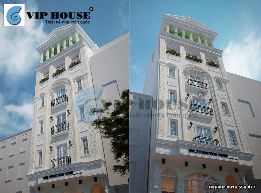 View chi tiết thể hiện những đặc điểm của phong cách kiến trúc tân cổ điển cho công trình